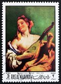 Postage stamp Ras al-Khaimah 1970 Woman with a Mandolin by Tiepo