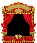 Vector image of the illuminated puppet show booth with theater masks, red curtain and signboards