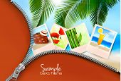 Background with photos from holidays on a seaside. Summer holidays concept. Vector
