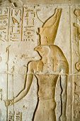 picture of horus  - Ancient Egyptian bas relief of the falcon headed god Horus.  Ptolemaic temple at Deir el Medina at Luxor, Egypt. 