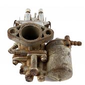 pic of carburetor  - dirty old motorcycle carburetor on a white background - JPG