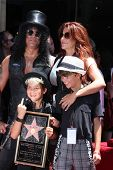 LOS ANGELES - JUL 9:  Slash, wife Perla and two sons at the Hollywood Walk of Fame Ceremony for Slas