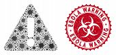Coronavirus Mosaic Warning Icon And Rounded Distressed Stamp Seal With Ebola Warning Phrase. Mosaic  poster