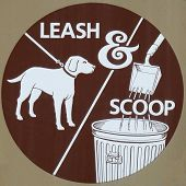picture of dog park  - This leash and scoop sign makes it clear that dogs are only welcome on the footpath when properly handled by their owners - JPG