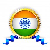 stock photo of ashok  - illustration of India tricolor flag in badge with golden frame - JPG