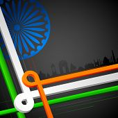 foto of ashok  - illustration of Indian cityscape with tricolor strip - JPG