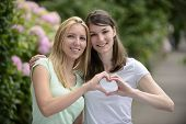 stock photo of lesbian  - lesbian couple forming heart shape with hands - JPG