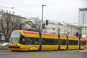 Tram On A Street Of Warsaw