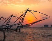 Kochi chinese fishnets on sunset. Fort Kochin, Kochi, Kerala, India