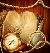 vector vintage background with compass, magnifying glass, parchment and marine rope