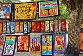 MAPUTO, MOZAMBIQUE - APRIL 29: Traditional african batik painting on the market in Maputo, Mozambiqu