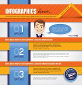 Infographics templates with a smart businessman