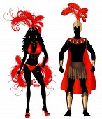 image of monokini  - Vector Illustration Couple for Carnival Red Costume Silhouettes with a man and a woman - JPG