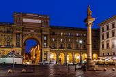 image of piazza  - The Column of Abundance in the Piazza della Repubblica in the Morning Florence Italy - JPG