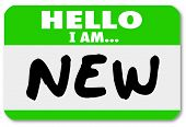 stock photo of youngster  - A green nametag sticker with the words Hello I Am New for a rookie - JPG