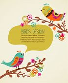 colorful background with cute decorative birds