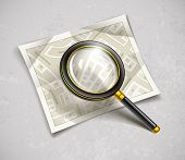 loupe magnifying glass tool with streets paper map, loupe magnifying glass tool with streets paper m