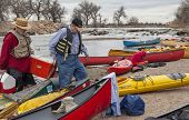 SOUTH PLATTE RIVER, EVANS, COLORADO - APRIL 6: Paddlers are taking a lunch break during Annual All C