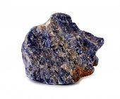 Sodalite blue mineral rock stone on white