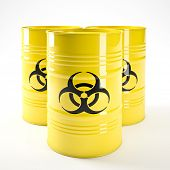stock photo of biohazard symbol  - 3d image of yellow biohazard barell - JPG