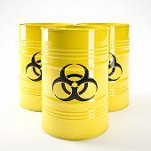 3d image of yellow biohazard barell