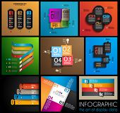 Infographic design templates collection with paper tags. Idea to display information, ranking and st
