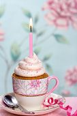 picture of tea party  - Pink birthday cupcake in a tea cup - JPG