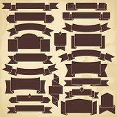 Set of blank vintage ribbons for design