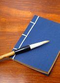 chinese book and writing brush
