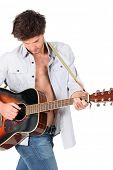 Young man playing a guitar