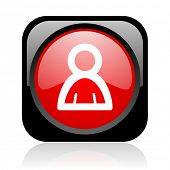 account black and red square web glossy icon