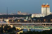 Evening view of the Academy of Sciences and the Shukhov Tower from the observation deck on the Sparrow Hills in Moscow