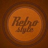 Leather background with round stitched labels - eps10