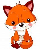Fun zoo. Illustration of cute Fox