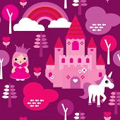 Seamless princess castle and unicorn rainbow illustration pattern background in vector
