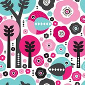 Seamless birds and trees illustration background pattern in vector