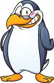 Blushing cartoon penguin. Vector clip art illustration with simple gradients. All in a single layer.