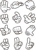 Cartoon gloved hands. Vector clip art illustration. Each in a separate layer.