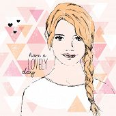 Pretty blonde girl with long hair braid fashion model portrait with geometric lovely day typography background in vector