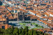 aerial view of the Plaza de Armas of Cuzco city in the peruvian Andes Peru