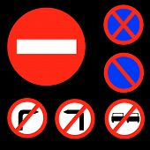 Six Round Prohibitory Red, White And Blue Road Signs Set 1