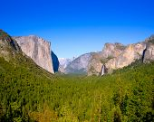 stock photo of horsetail  - Yosemite el Capitan and Half Dome in California National Parks US - JPG