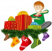 christmas gifts with sock and christmas tree decorations