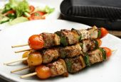 picture of greek food  - Freshly grilled Shish Kebabs - JPG