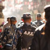 KATHMANDU, NEPAL - NOV 29: Soldiers during protest within a campaign to end violence against women (