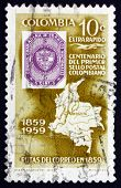 Postage Stamp Colombia 1959 Map Of Colombia