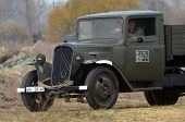 Kiev, Ukraine - November 3: German truck is displayed on the Field of Battle military history festival on November 3 , 2013 in Kiev, Ukraine