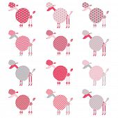 Cute Pink Grey Poodle pattern