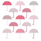 Cute Pink Grey Umbrellas pattern