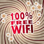 Red Vintage Wooden 100 Percent Free Wifi Label